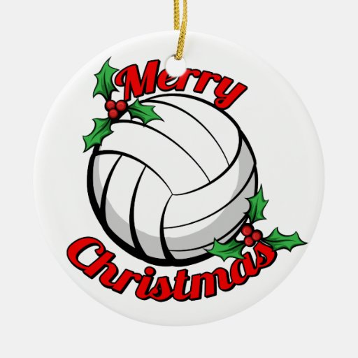 Volleyball Merry Christmas Ceramic Ornament Zazzle