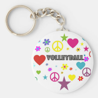 Volleyball Mixed Graphics Basic Round Button Keychain
