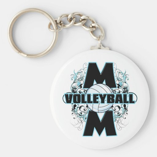 Volleyball Mom (cross).png Basic Round Button Keychain