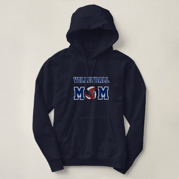 Beach Themed Volleyball Mom - Navy Blue, White and Dark Red Hoodie