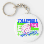 Volleyball Mom With Attitude Basic Round Button Keychain