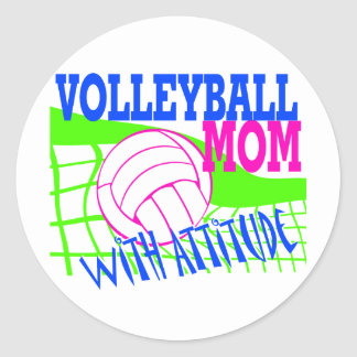 Volleyball Mom With Attitude Classic Round Sticker