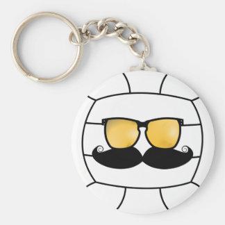 Volleyball Mustache Keychain