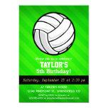 Volleyball; Neon Green Stripes 5x7 Paper Invitation Card