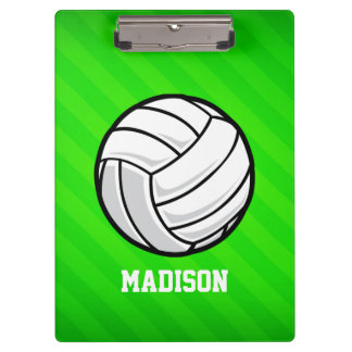 Volleyball; Neon Green Stripes Clipboard