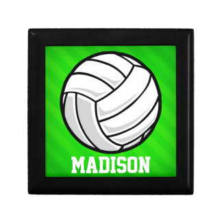 Volleyball; Neon Green Stripes Trinket Box