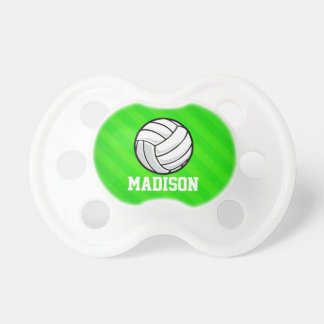 Volleyball; Neon Green Stripes BooginHead Pacifier