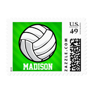 Volleyball; Neon Green Stripes Postage Stamp