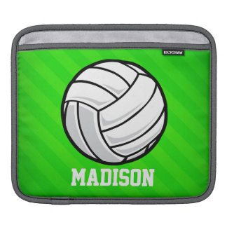 Volleyball; Neon Green Stripes Sleeve For iPads