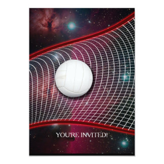 Volleyball net in space 5x7 paper invitation card