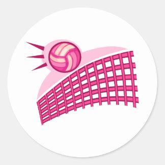 Volleyball & net classic round sticker
