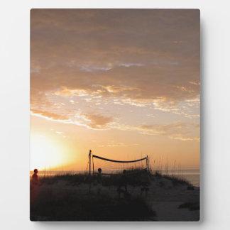 Volleyball Net Sunset Beach Plaque