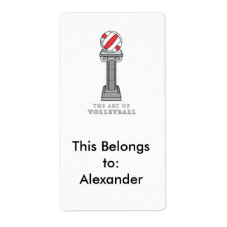 volleyball on a pedestal shipping label