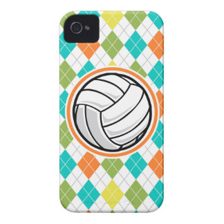 Volleyball on Colorful Argyle Pattern iPhone 4 Case