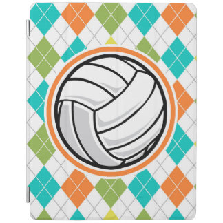 Volleyball on Colorful Argyle Pattern iPad Cover