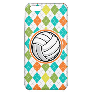 Volleyball on Colorful Argyle Pattern Case For iPhone 5C