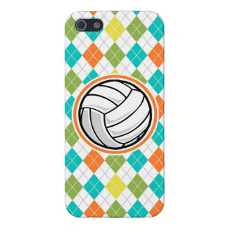 Volleyball on Colorful Argyle Pattern Covers For iPhone 5