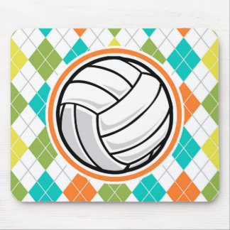 Volleyball on Colorful Argyle Pattern Mouse Pad