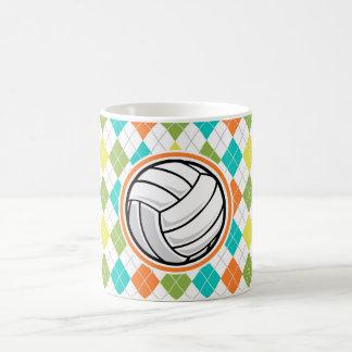 Volleyball on Colorful Argyle Pattern Mug