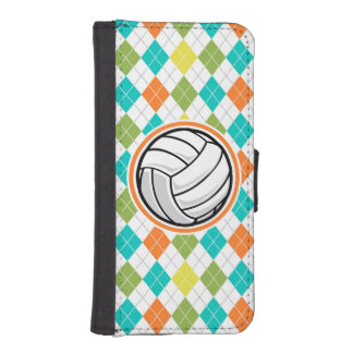 Volleyball on Colorful Argyle Pattern iPhone 5 Wallet