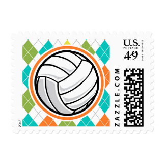 Volleyball on Colorful Argyle Pattern Postage