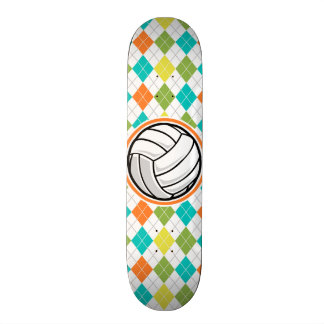 Volleyball on Colorful Argyle Pattern Skate Deck
