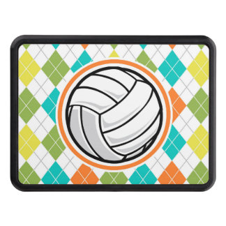 Volleyball on Colorful Argyle Pattern Tow Hitch Cover