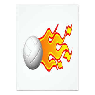 """Volleyball On Fire 5"""" X 7"""" Invitation Card"""