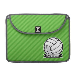 Volleyball on Green Stripes Sleeve For MacBooks