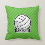 Volleyball on Green Stripes Throw Pillows