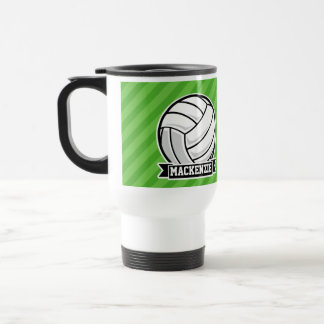 Volleyball on Green Stripes Travel Mug