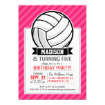 Volleyball on Neon Pink Stripes 5x7 Paper Invitation Card