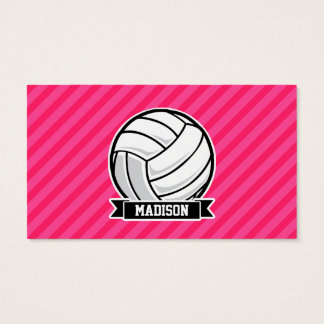 Volleyball on Neon Pink Stripes Business Card