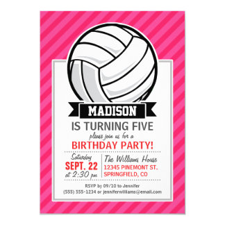 Volleyball on Neon Pink Stripes Card