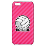 Volleyball on Neon Pink Stripes Case For iPhone 5C