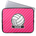 Volleyball on Neon Pink Stripes Computer Sleeves