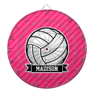 Volleyball on Neon Pink Stripes Dartboard With Darts