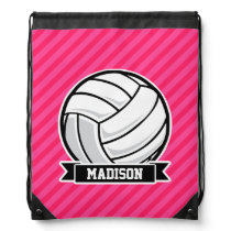 Volleyball on Neon Pink Stripes Drawstring Bag