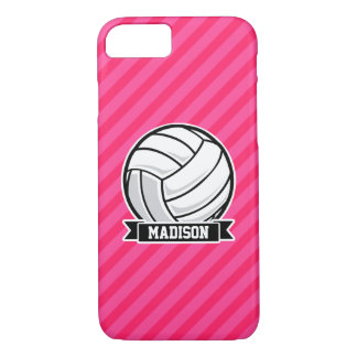 Volleyball on Neon Pink Stripes iPhone 8/7 Case