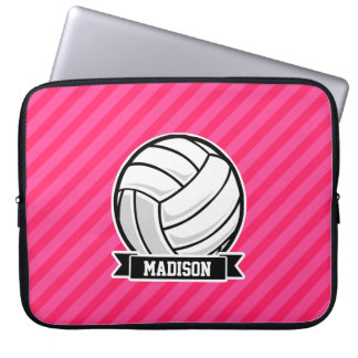 Volleyball on Neon Pink Stripes Laptop Sleeve