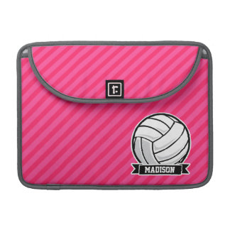 Volleyball on Neon Pink Stripes Sleeves For MacBook Pro