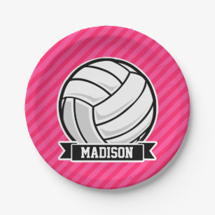 Volleyball on Neon Pink Stripes Paper Plate  sc 1 st  Zazzle & Volleyball Plates | Zazzle