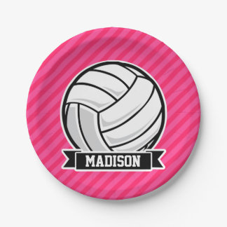 Volleyball on Neon Pink Stripes Paper Plate
