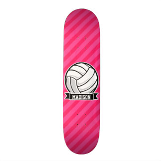 Volleyball on Neon Pink Stripes Skate Deck