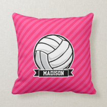 Volleyball on Neon Pink Stripes Throw Pillow