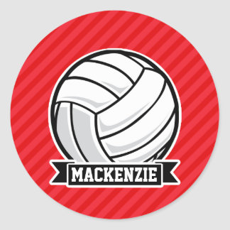 Volleyball on Red Diagonal Stripes Classic Round Sticker