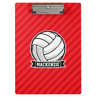 Volleyball on Red Diagonal Stripes Clipboards