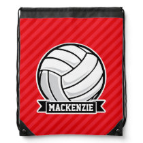 Volleyball on Red Diagonal Stripes Drawstring Bag