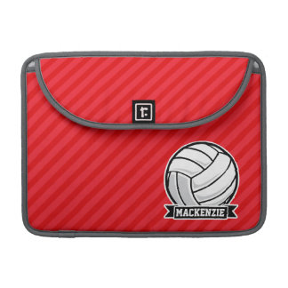 Volleyball on Red Diagonal Stripes Sleeve For MacBooks