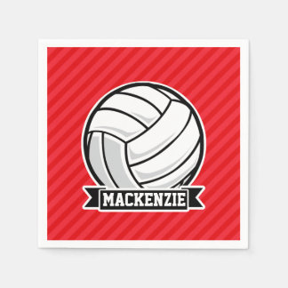 Volleyball on Red Diagonal Stripes Napkin